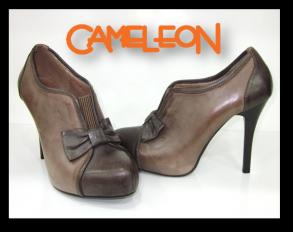 Pantofi din piele maro cu design funda