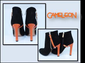 botine negre cu accesoriu portocaliu